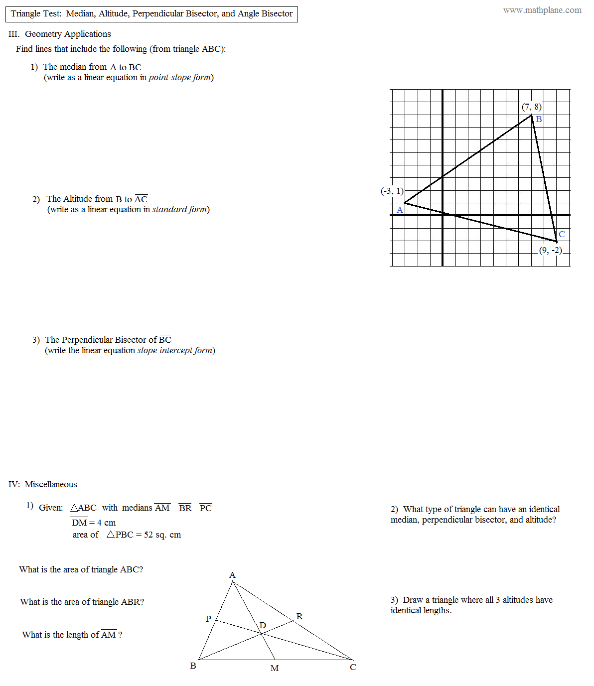 Geometry Points Of Concurrency Worksheet 002 - Geometry Points Of Concurrency Worksheet