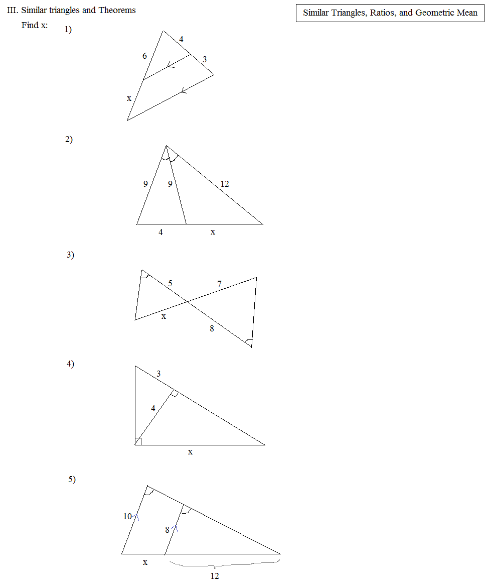 worksheet Similar Triangles And Proportions Worksheet math plane similar triangles ratios proportions geometric mean exercise 2