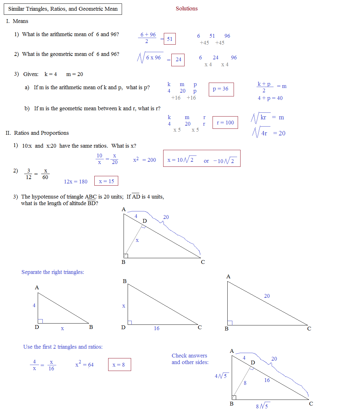 Printables Geometric Mean Worksheet geometric mean worksheet abitlikethis pin angle bisector theorem image search results on pinterest