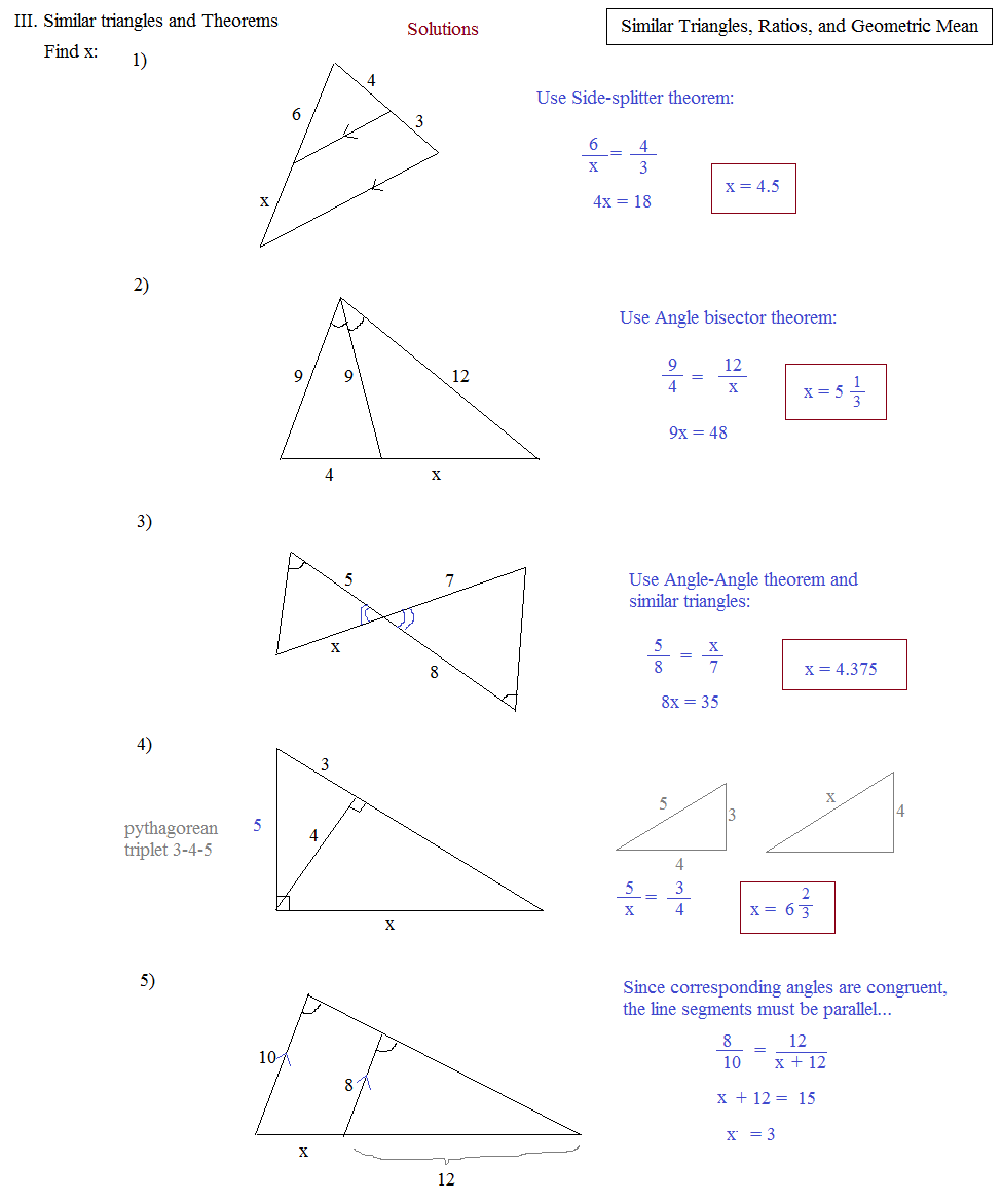 Triangle Proportions Worksheets | Free Printable Math Worksheets ...