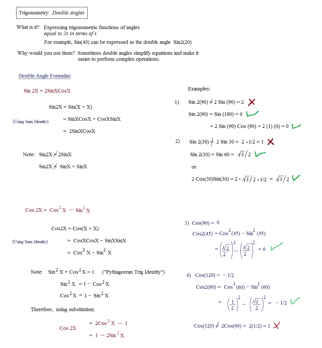 Math Plane Trig Identities II Double Angles – Math Worksheets Trigonometry