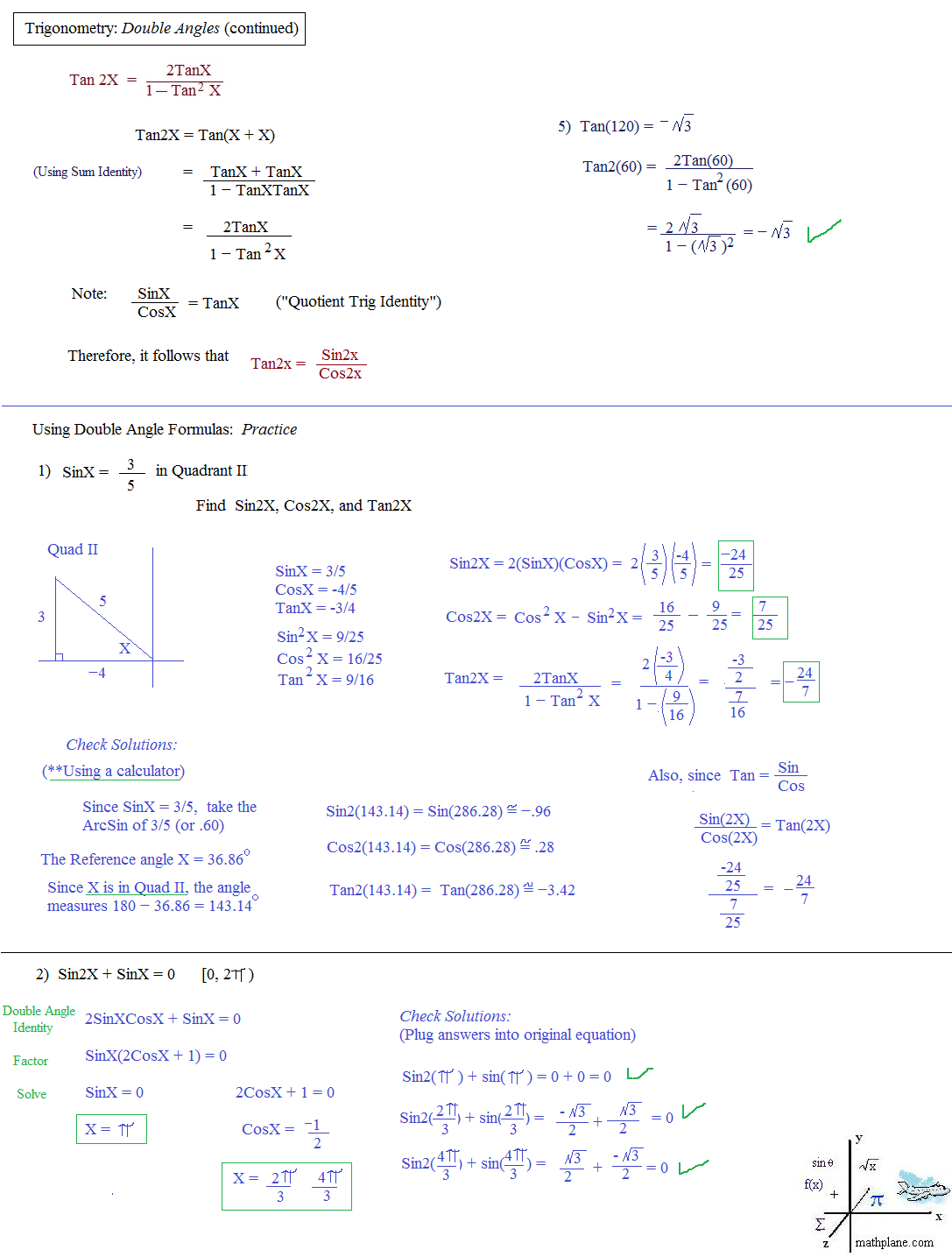 Workbooks inverse trigonometric functions problems worksheets : Math Plane - Trig Identities II - Double Angles
