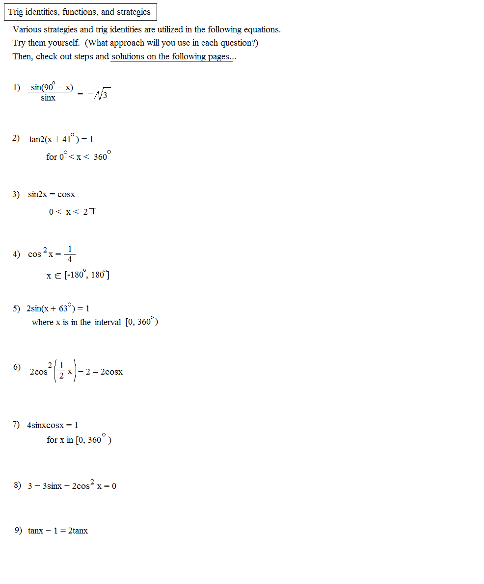 Printables Trig Identity Worksheet math plane trig identities iii solving and graphing function identity examples