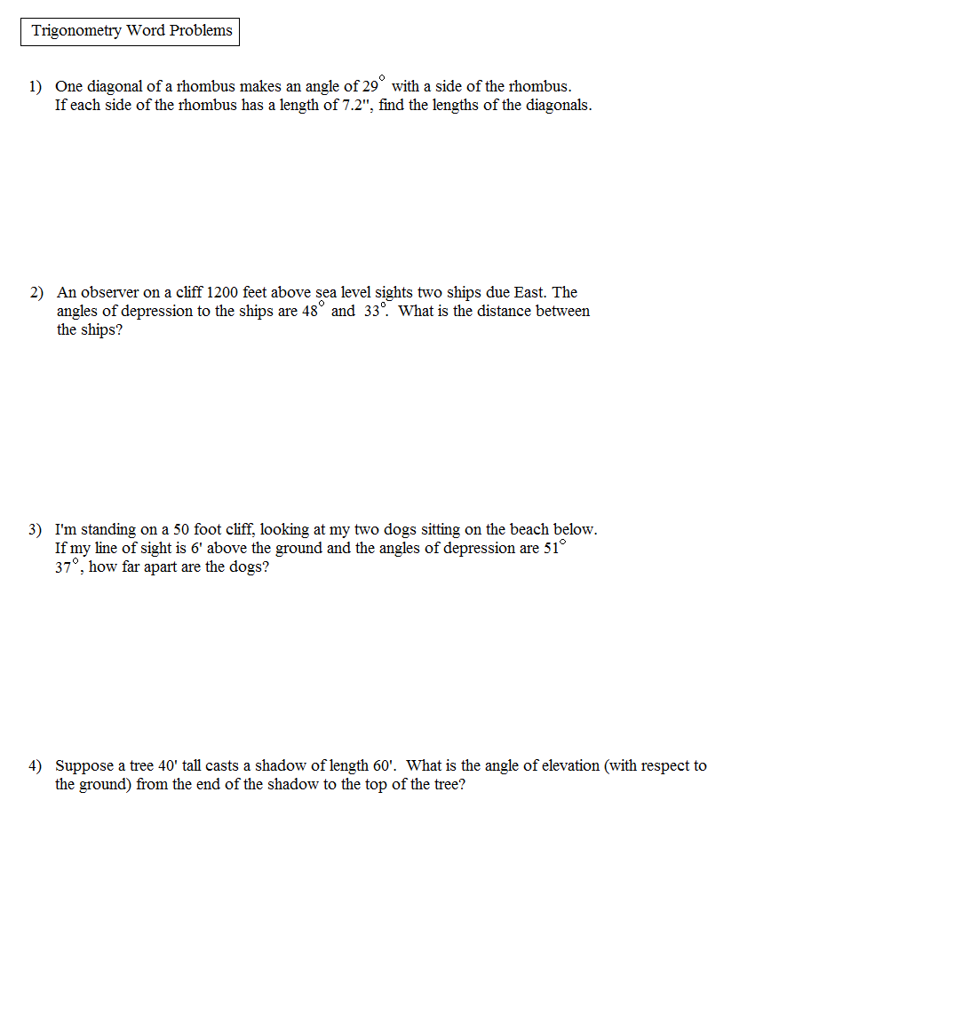 Math Plane Trigonometry Word Problems – Algebra Word Problems Worksheet