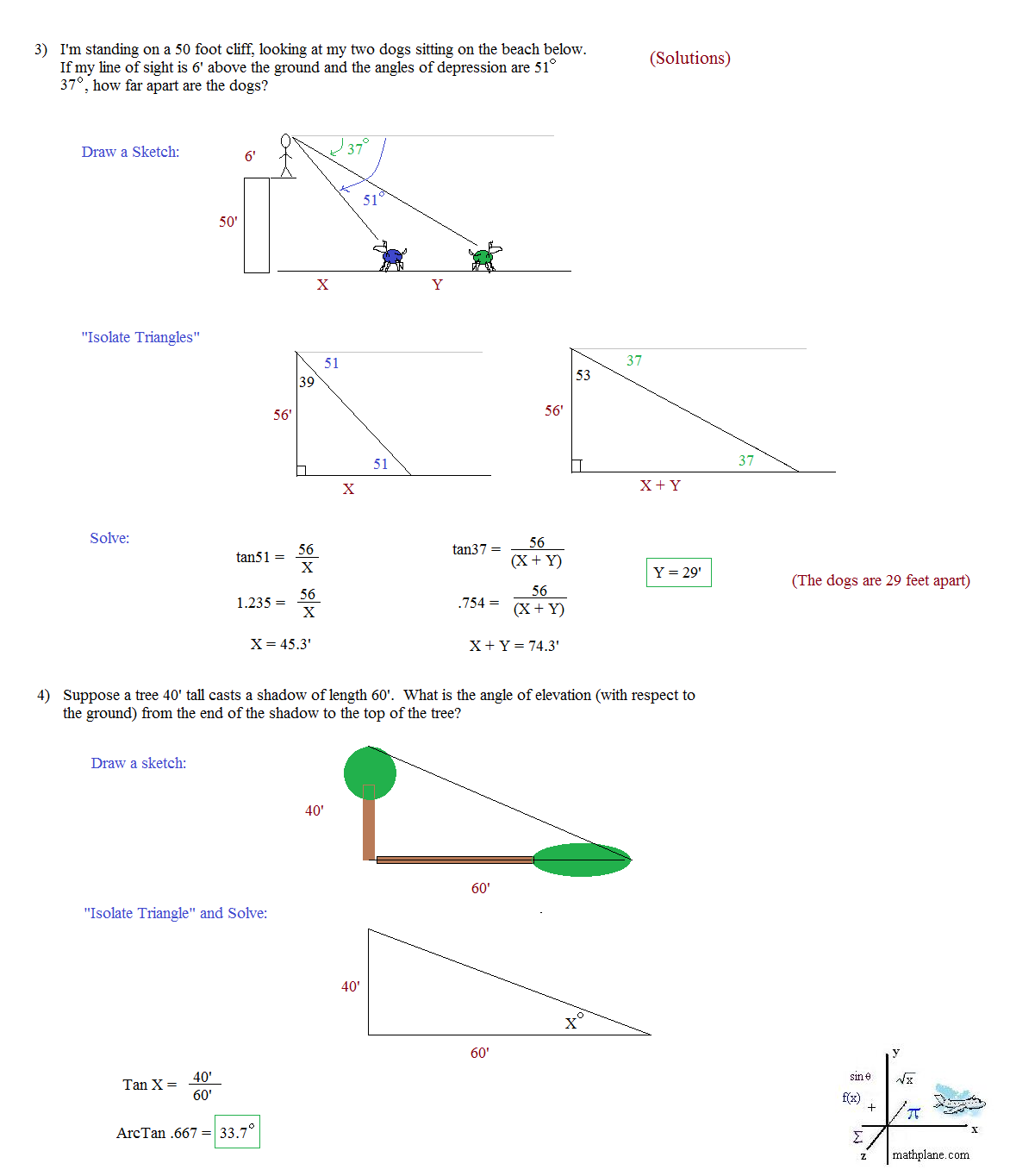Worksheets Right Triangle Word Problems Worksheet math plane trigonometry word problems trig mathplane solutions 2