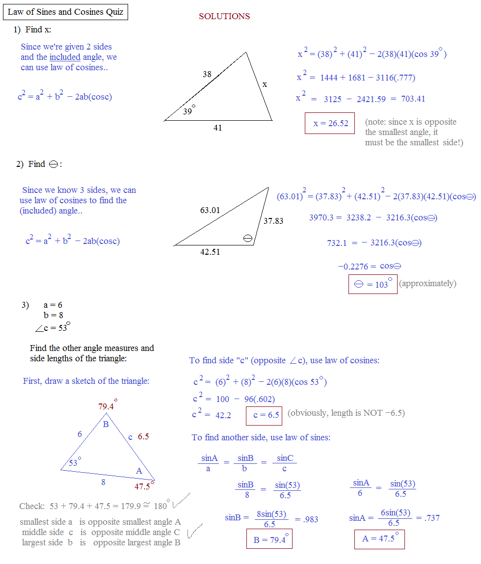 Printables Trigonometry Worksheets With Answers math plane law of sines and cosines area triangles trigonometry quiz solutions