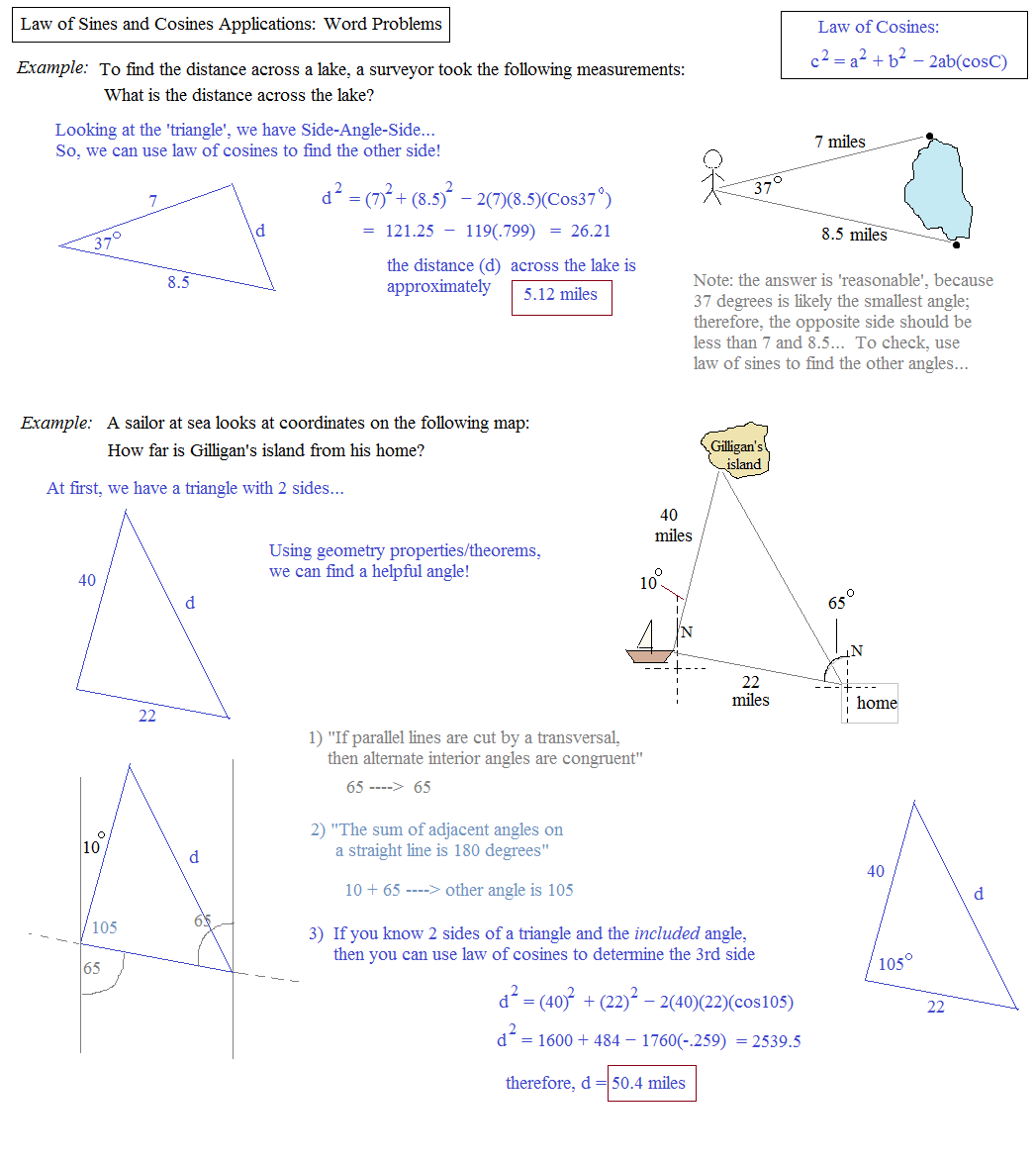Math Plane Law of Sines and Cosines Area of Triangles – Right Triangle Trigonometry Word Problems Worksheet