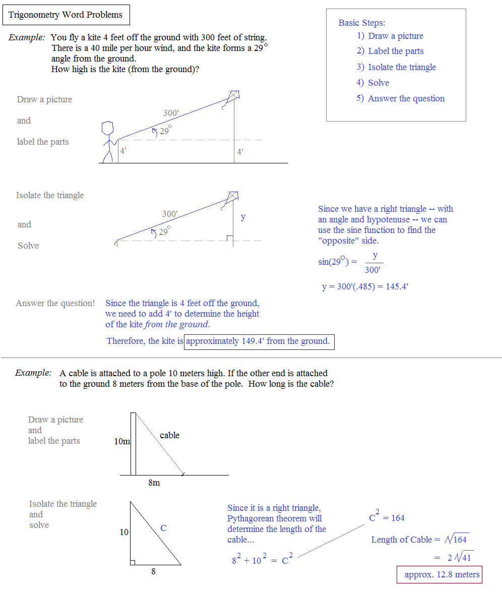 Worksheets Trig Word Problems Worksheet math plane trigonometry word problems notes and examples
