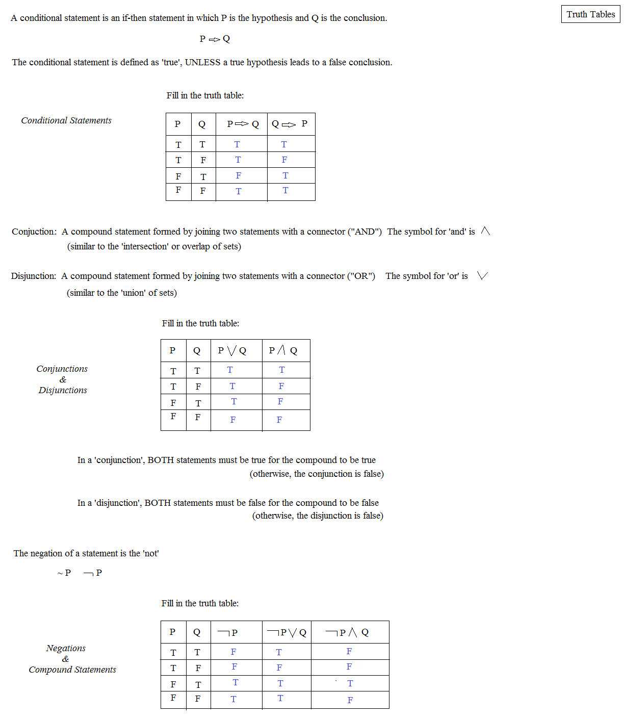 Math Plane Logic and Reasoning – Truth Tables Worksheet