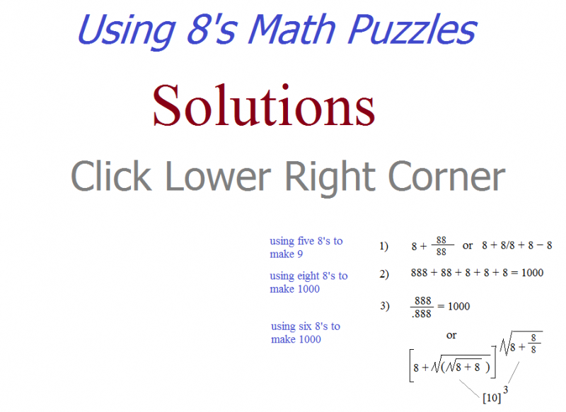 using 8's math puzzles solutions