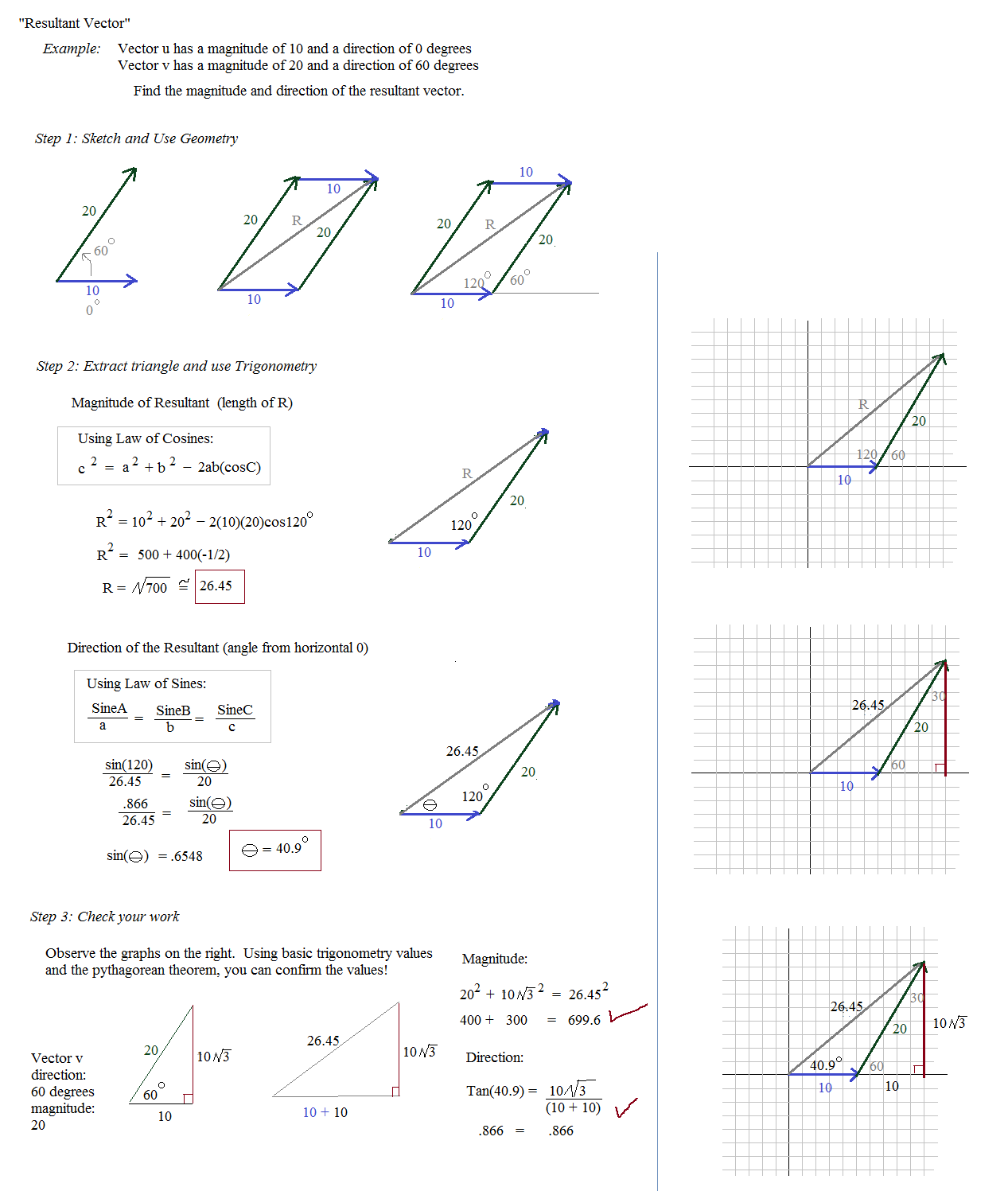Math Plane Vectors Introduction – Vector Components Worksheet