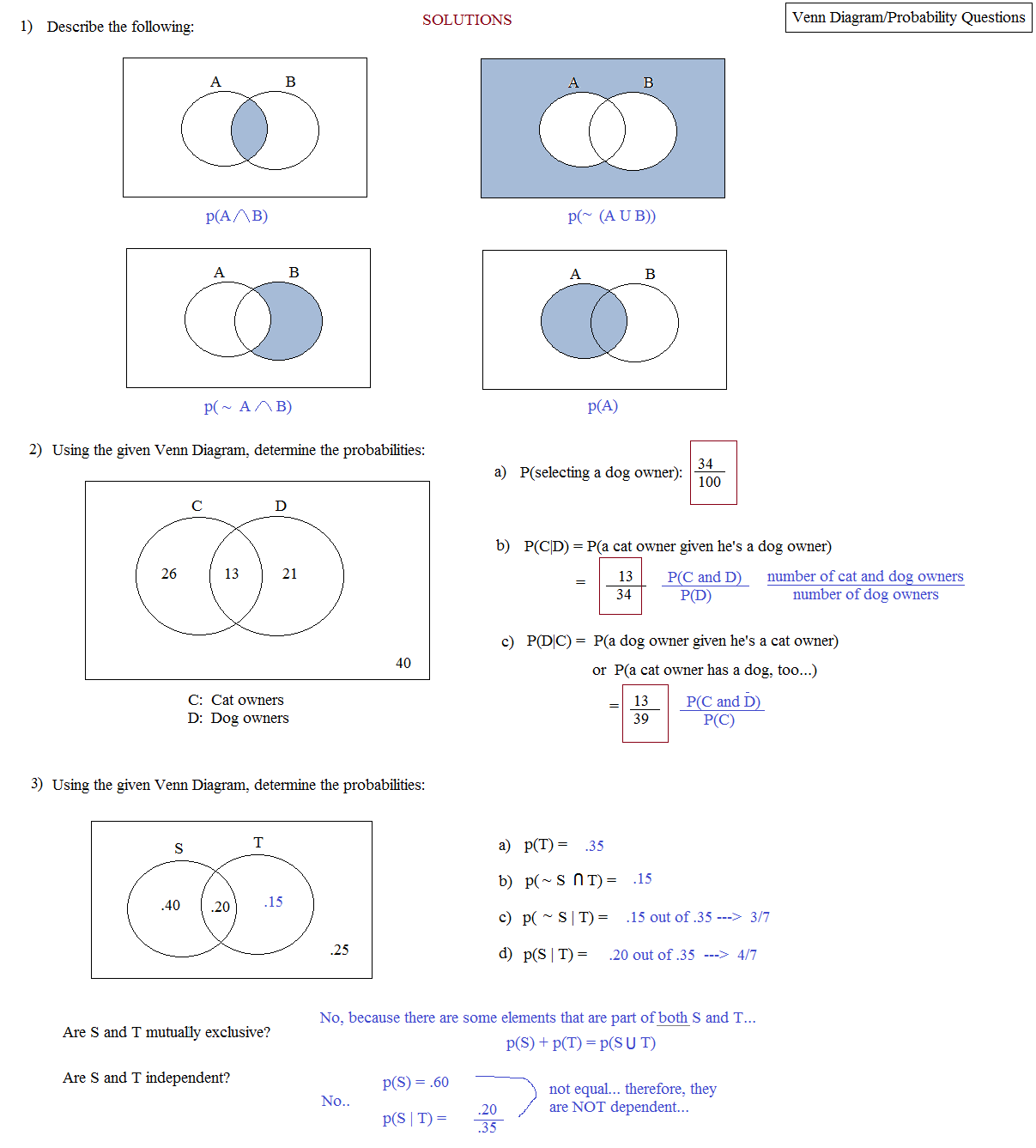 Math plane venn diagrams venn diagram quiz solutions ccuart