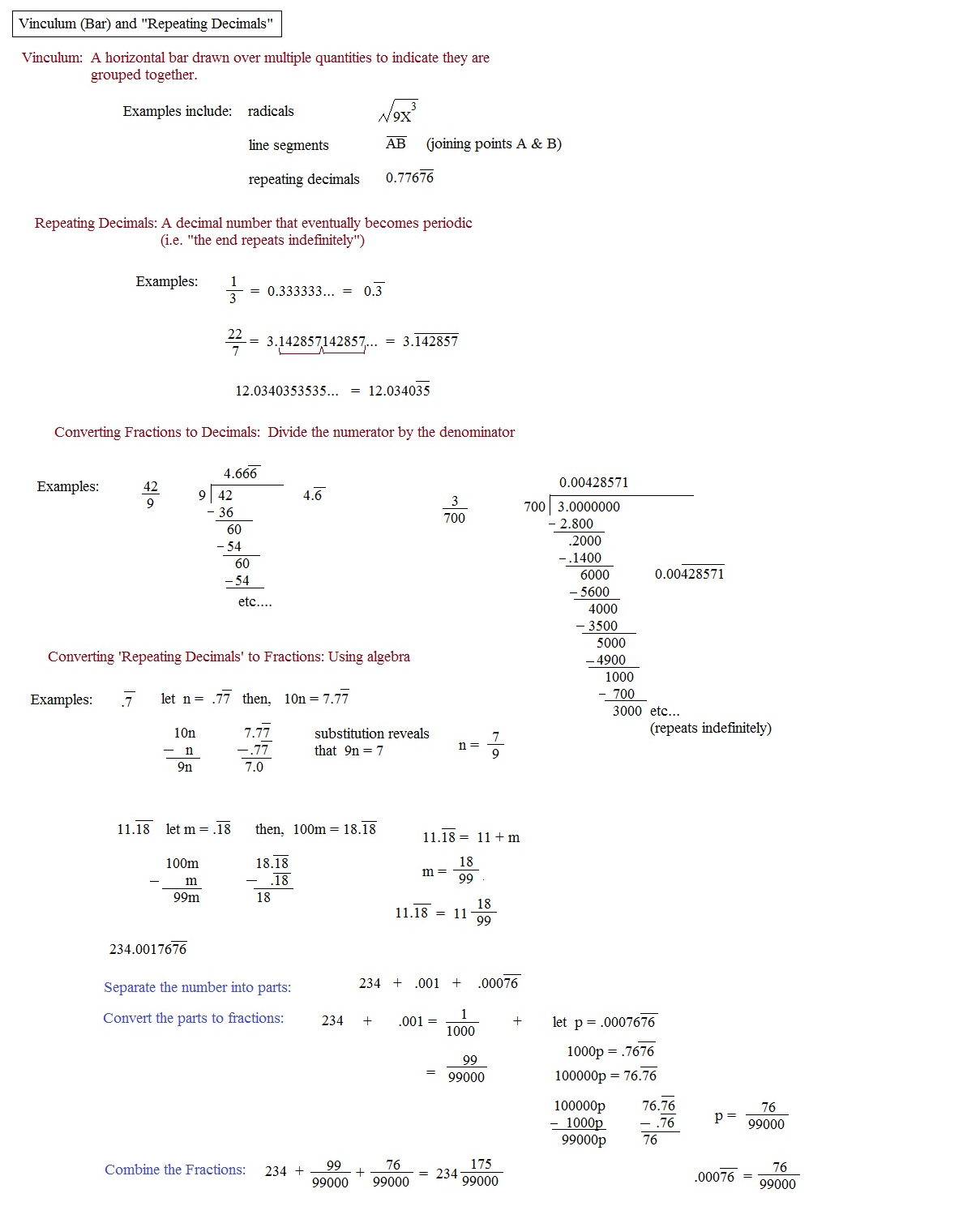 repeating decimals worksheet Termolak – Repeating Decimal to Fraction Worksheet